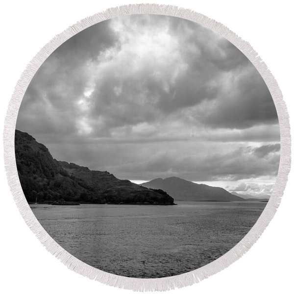 Storm On The Isle Of Skye, Scotland Round Beach Towel