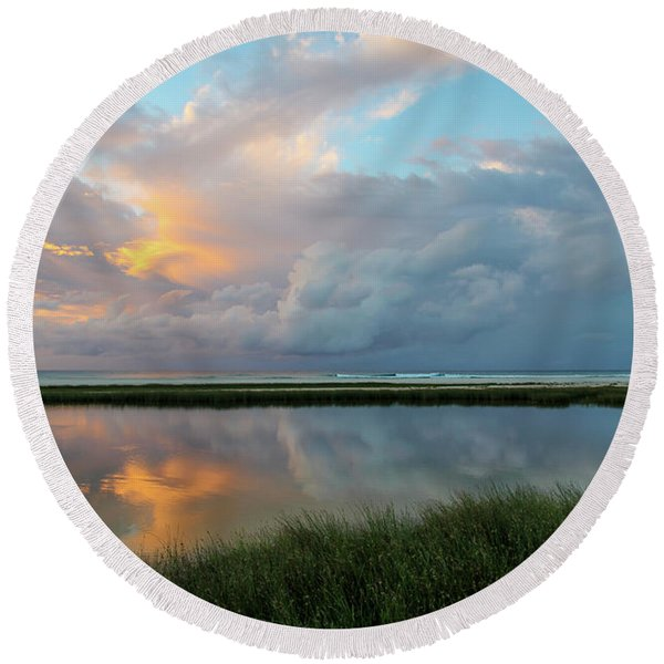 Storm Cloud Reflections At Sunset Round Beach Towel