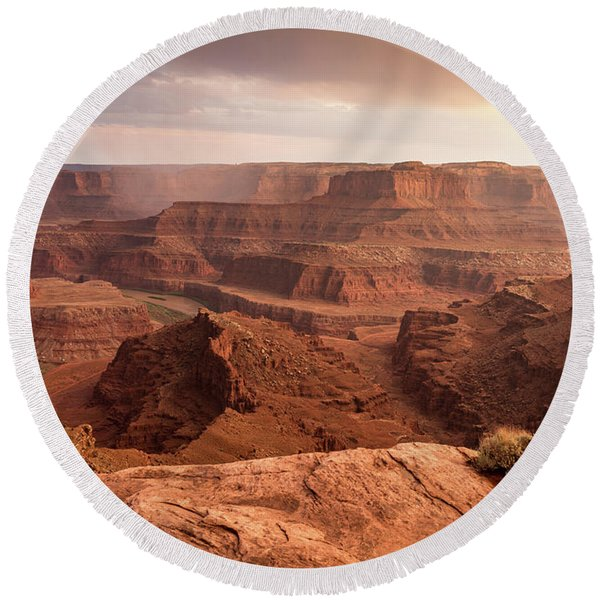 Storm Over Canyonlands Round Beach Towel