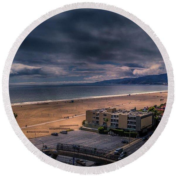 Storm Watch Over Malibu - Panarama  Round Beach Towel