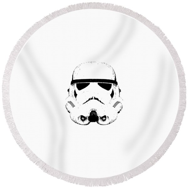 Stormtrooper Helmet Star Wars Tee Black Ink Round Beach Towel