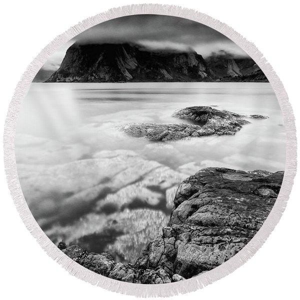 Stormy Lofoten Round Beach Towel