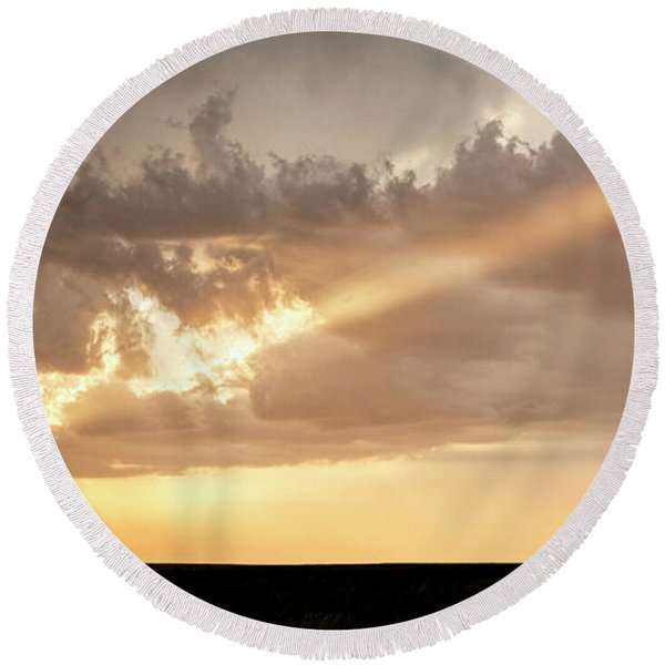 Stormy Sunset And Windmill 01 Round Beach Towel