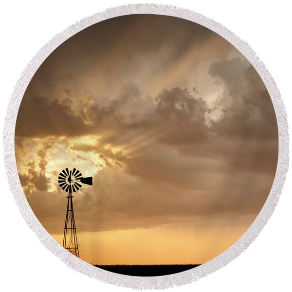Stormy Sunset And Windmill 05 Round Beach Towel