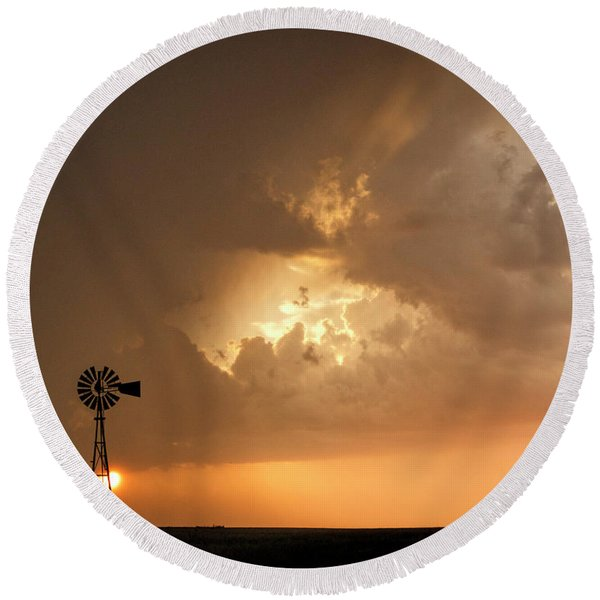 Stormy Sunset And Windmill 08 Round Beach Towel