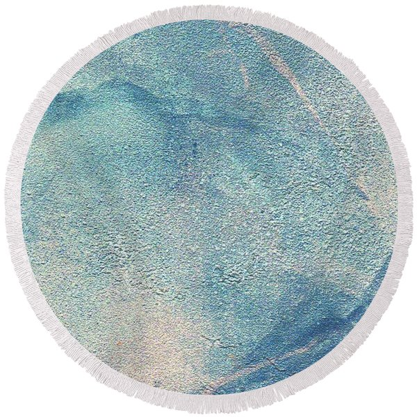 Round Beach Towel featuring the mixed media Stormy by Writermore Arts