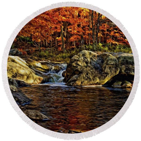 Stream In Autumn 57 In Oil Round Beach Towel