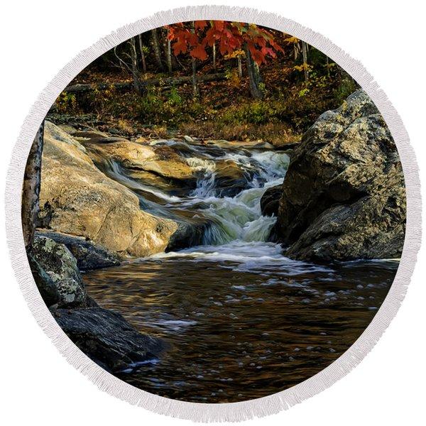 Stream In Autumn No.17 Round Beach Towel