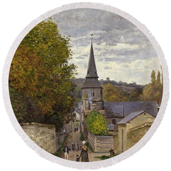 Street In Sainte Adresse Round Beach Towel