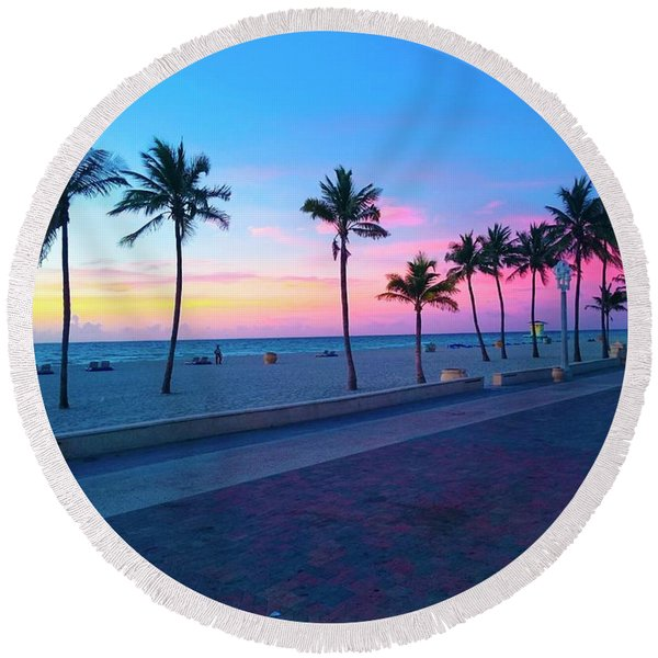 Strolling Along The Beach Under A Majestic Sunset Round Beach Towel