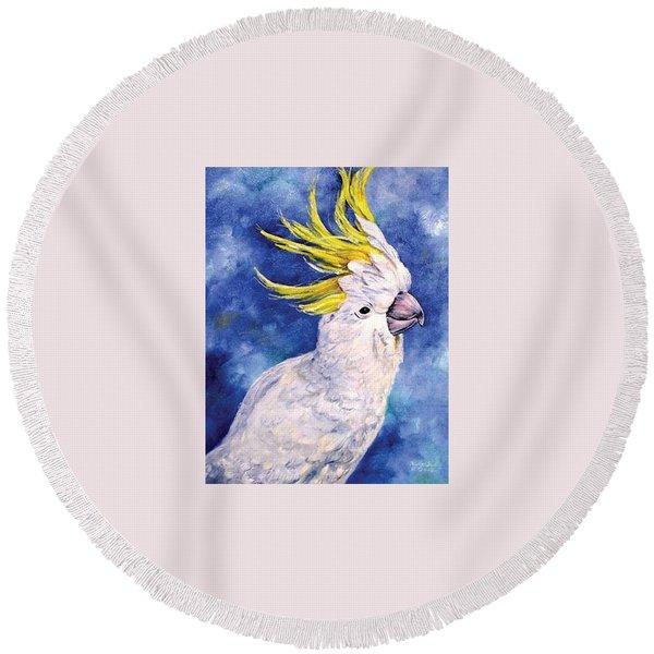 Sulphur-crested Cockatoo Round Beach Towel