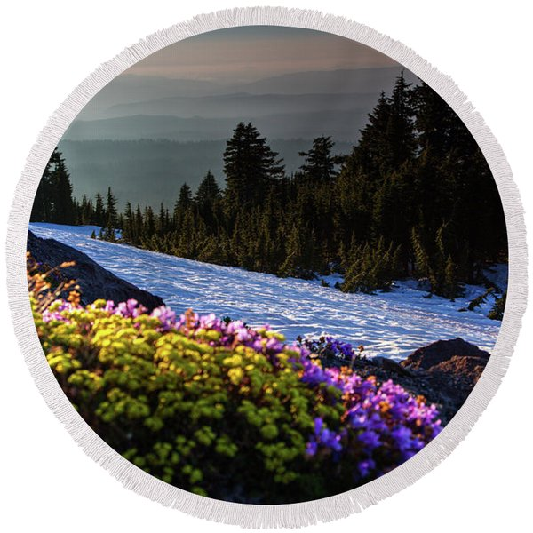 Summer And Winter Round Beach Towel