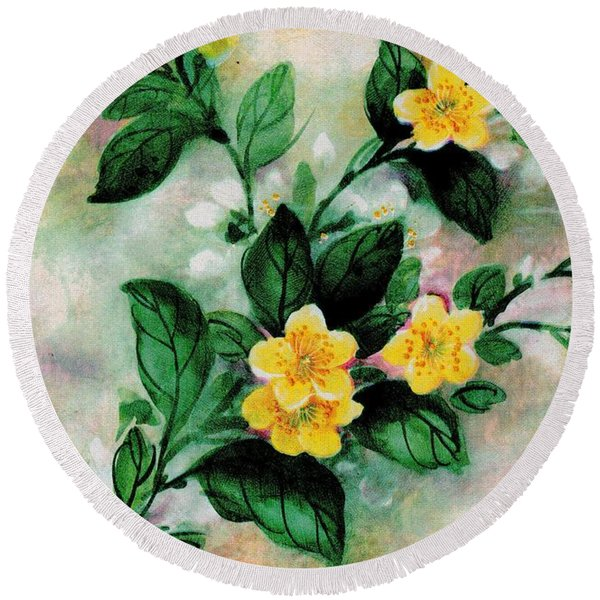 Round Beach Towel featuring the painting Summer Blooms by Writermore Arts