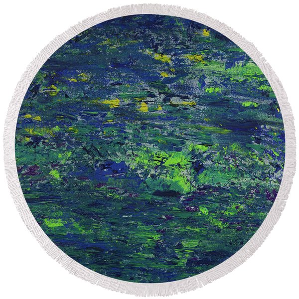Summer Blue Serenity Round Beach Towel