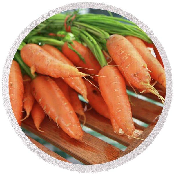 Summer Carrots Round Beach Towel