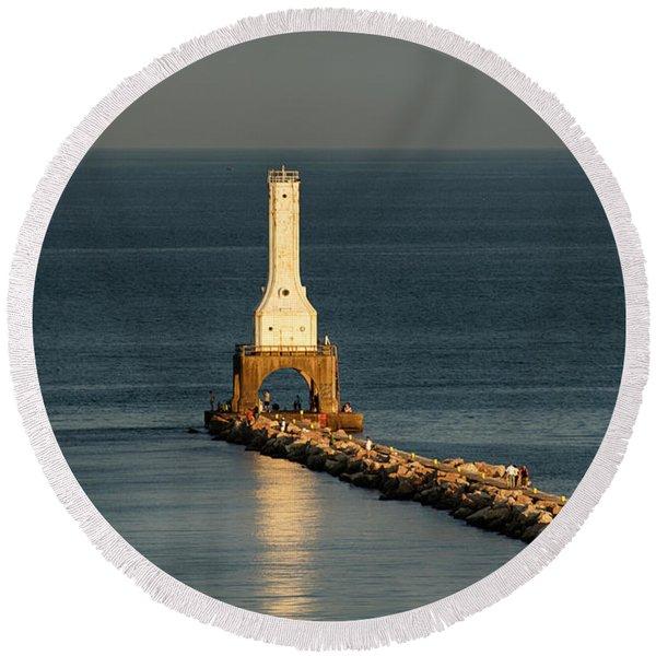 Summer Lighthouse Round Beach Towel