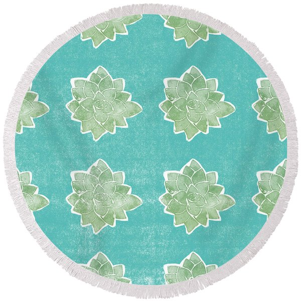 Summer Succulents- Art By Linda Woods Round Beach Towel