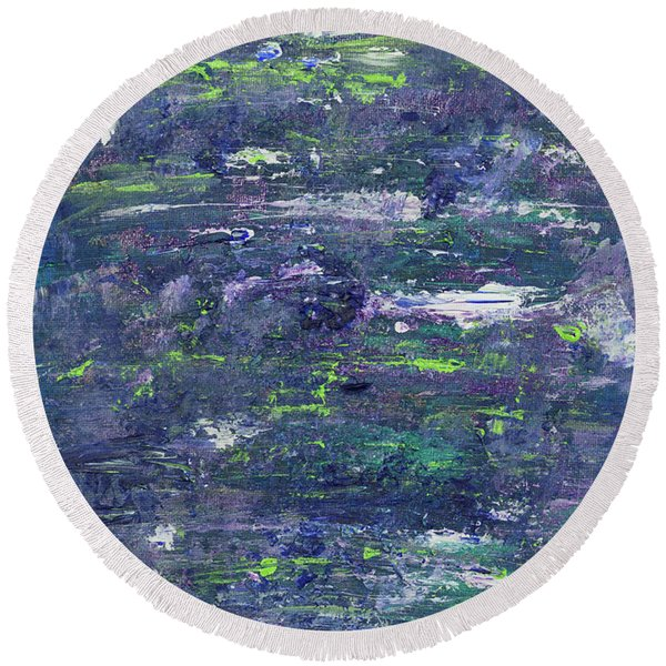 Summer Water Garden Round Beach Towel