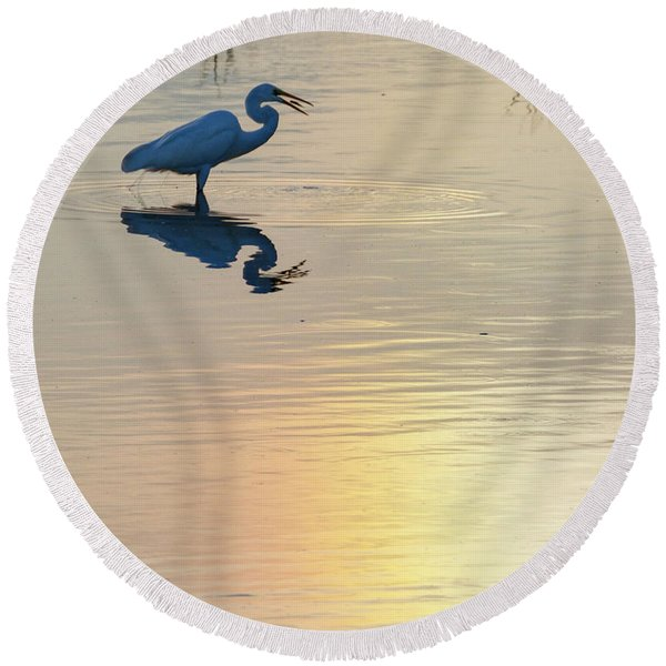 Sun Dog And Great Egret 4 Round Beach Towel