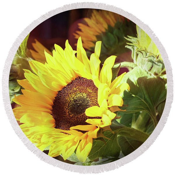 Round Beach Towel featuring the photograph Sun Of The Flower by Michael Hope