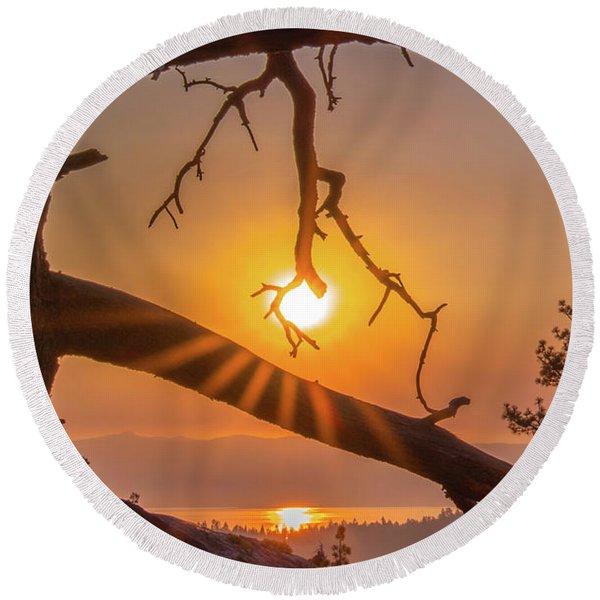 Sun Ornament - Cropped Round Beach Towel