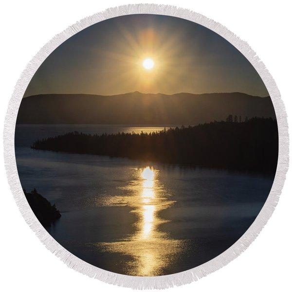 Sun Rising Over Lake Tahoe Round Beach Towel