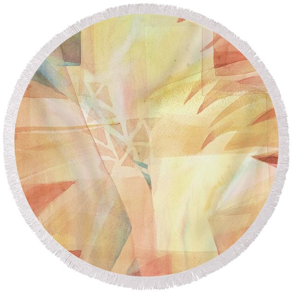 Round Beach Towel featuring the painting Sunbeams And Crystals by Carolyn Utigard Thomas