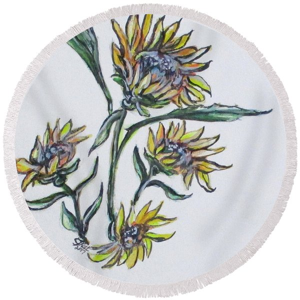 Sunflower Crazy Round Beach Towel