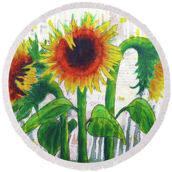 Sunflower Sonata Round Beach Towel