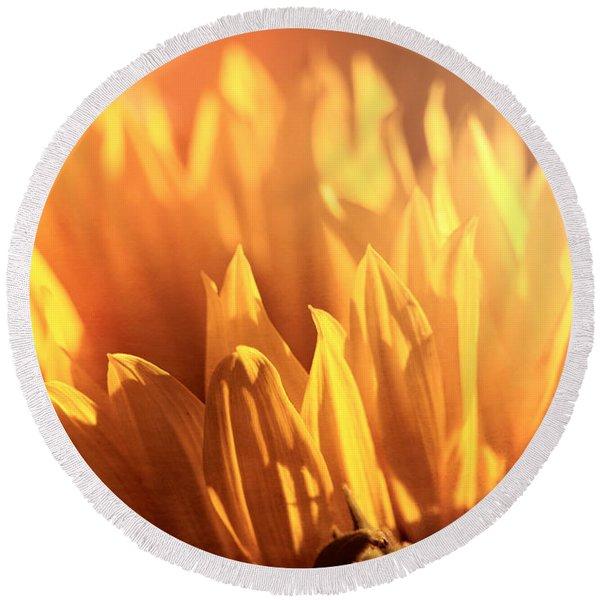 Sunflower To The Sky Round Beach Towel