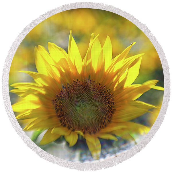 Sunflower With Lens Flare Round Beach Towel