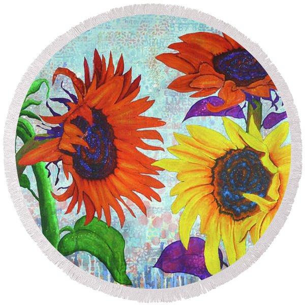Sunflowers For Elise Round Beach Towel