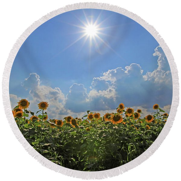Sunflowers With Sun And Clouds 1 Round Beach Towel