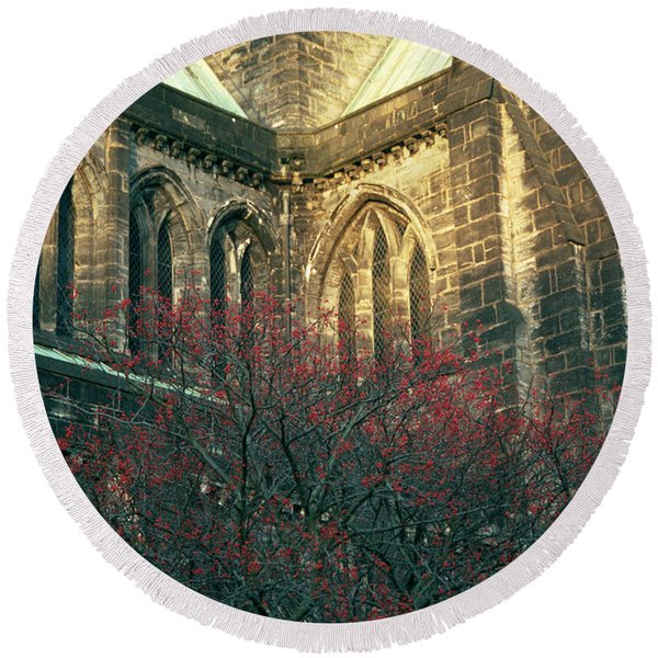 Sunlit Glasgow Cathedral Round Beach Towel