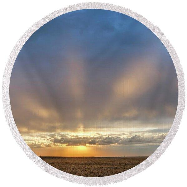 Sunrise And Wheat 03 Round Beach Towel
