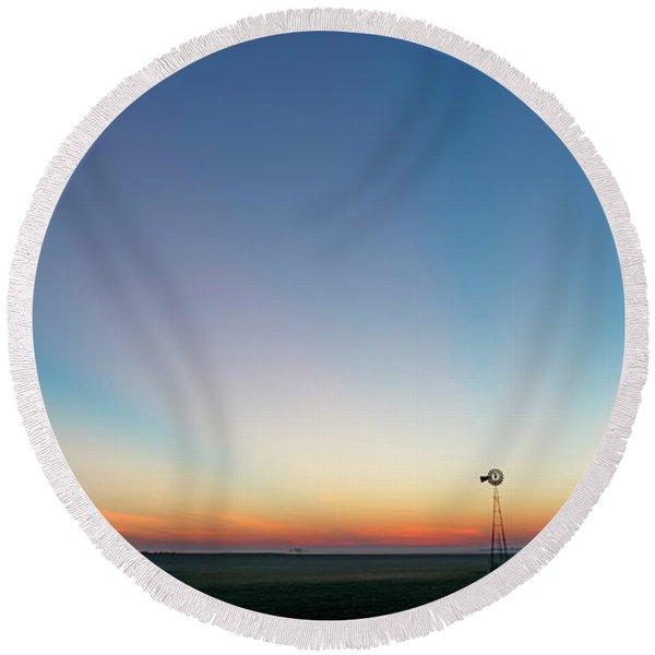 Sunrise And Windmill 03 Round Beach Towel