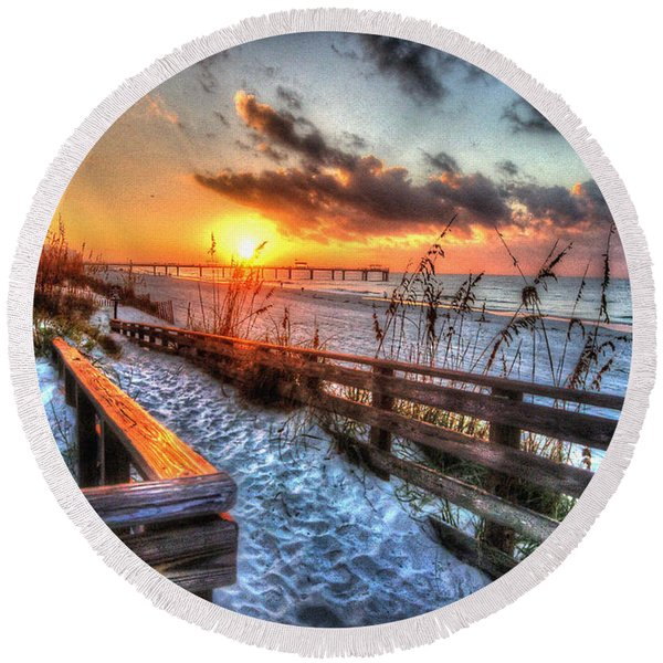Sunrise At Cotton Bayou  Round Beach Towel