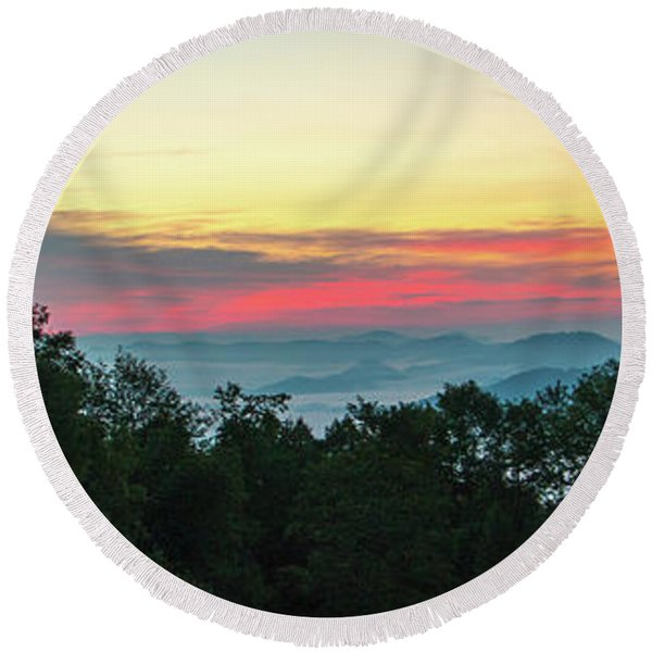 Sunrise From Maggie Valley August 16 2015 Round Beach Towel