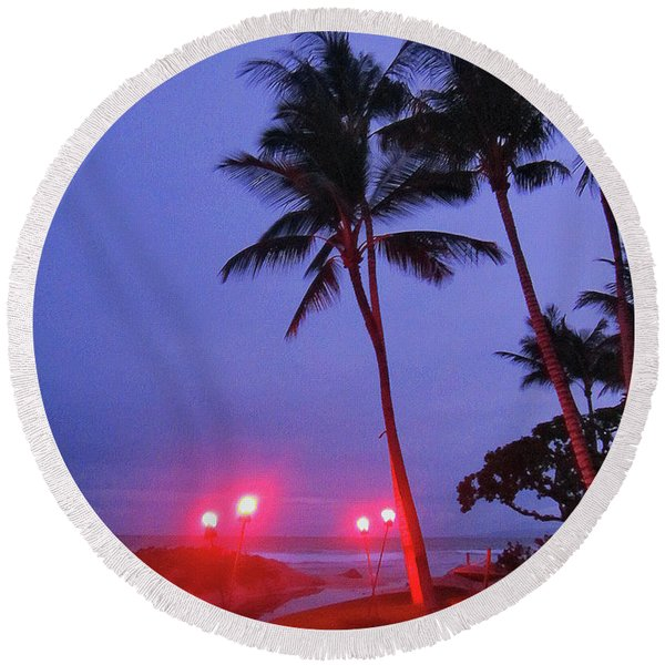 Sunrise Ocean Pathway Round Beach Towel