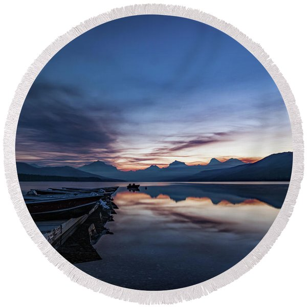 Round Beach Towel featuring the photograph Sunrise On Mcdonald Lake by Lon Dittrick