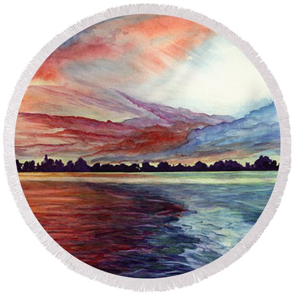 Round Beach Towel featuring the painting Sunrise Over Indian Lake by Nancy Cupp