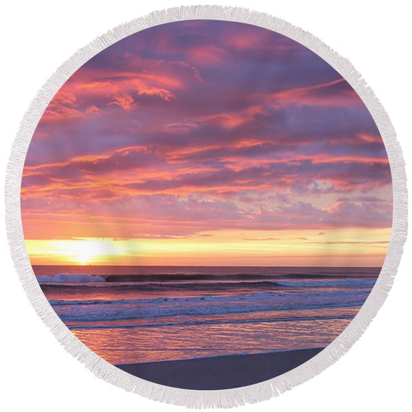 Sunrise Pinks Round Beach Towel