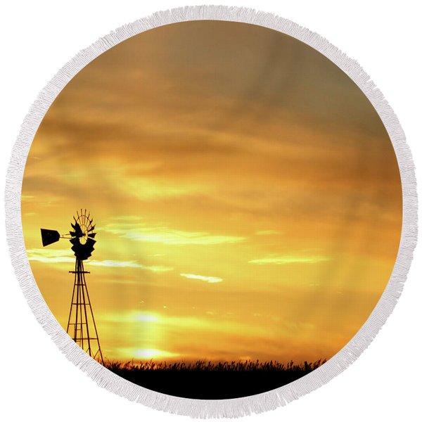 Sunset And Windmill 11 Round Beach Towel