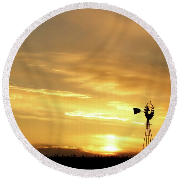 Sunset And Windmill 13 Round Beach Towel