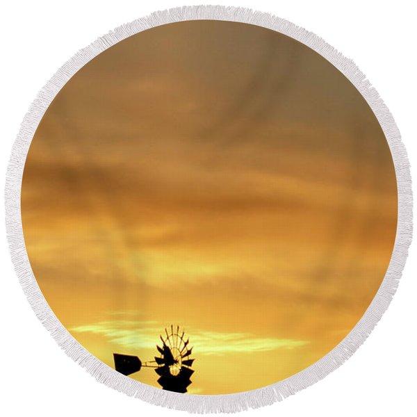 Sunset And Windmill 14 Round Beach Towel