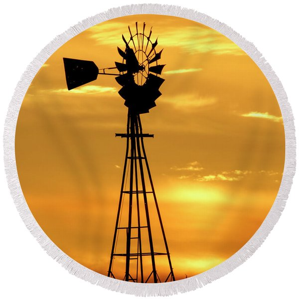 Sunset And Windmill 15 Round Beach Towel