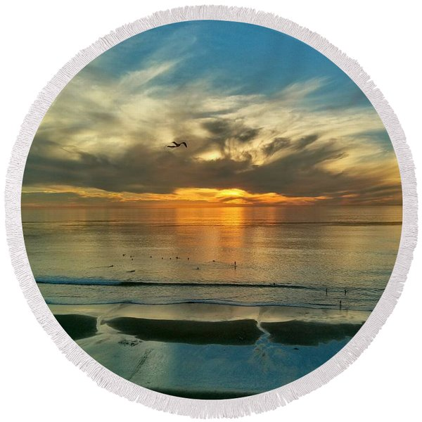 Sunset At Carlsbad Round Beach Towel