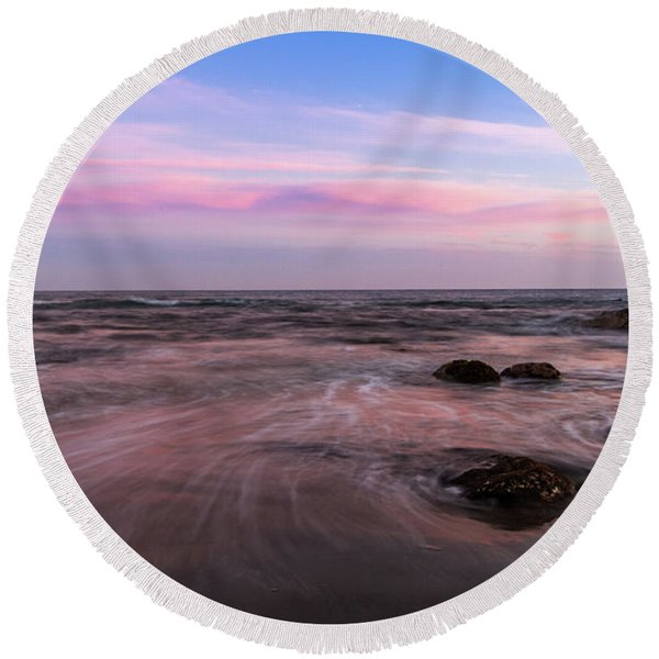Sunset At The Atlantic Round Beach Towel