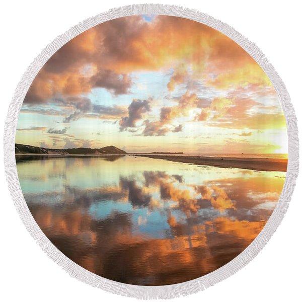 Sunset Beach Reflections Round Beach Towel