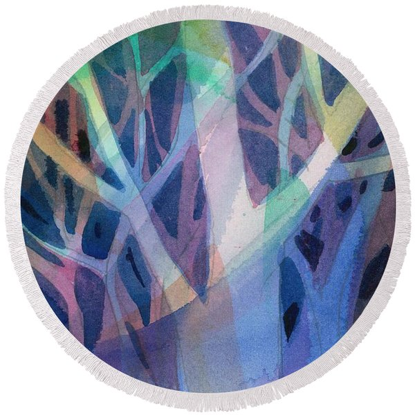 Round Beach Towel featuring the painting Sunset Branches by Carolyn Utigard Thomas